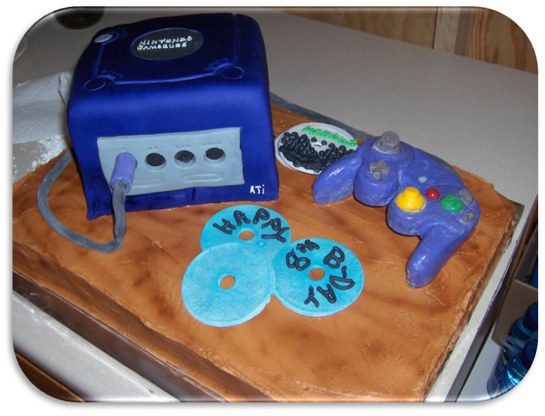 My Son Wanted The Game To Be On A Wooden Table So I Tried Make Wood Planks With Grain Using Airbrush Still Need More Practice Gamecube Cake
